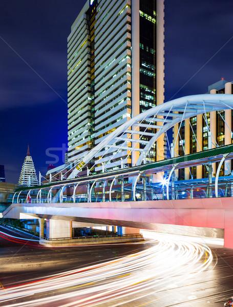 Бангкок Skyline светофора бизнеса дороги здании Сток-фото © leungchopan