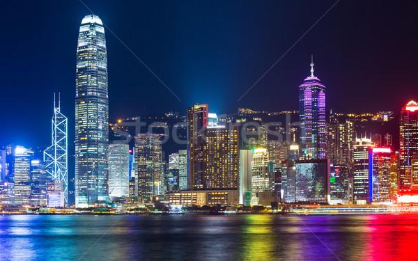 Hong-Kong Skyline nuit affaires gratte-ciel financière Photo stock © leungchopan