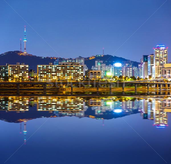 Seul cityscape montanha noite linha do horizonte rio Foto stock © leungchopan