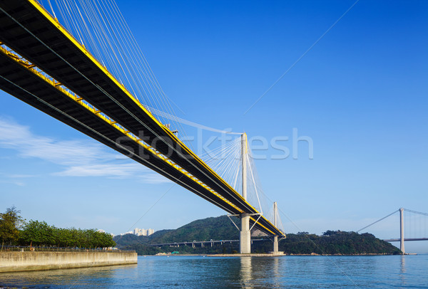 Suspension bridge in Hong Kong at day time Stock photo © leungchopan