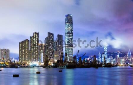 Kowloon skyline at night Stock photo © leungchopan