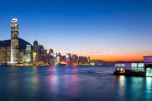Hongkong Night City biuro budynku panoramę ciemne Zdjęcia stock © leungchopan