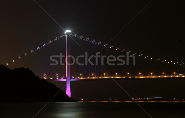 Hong Kong, Tsing ma bridge at night Stock photo © leungchopan