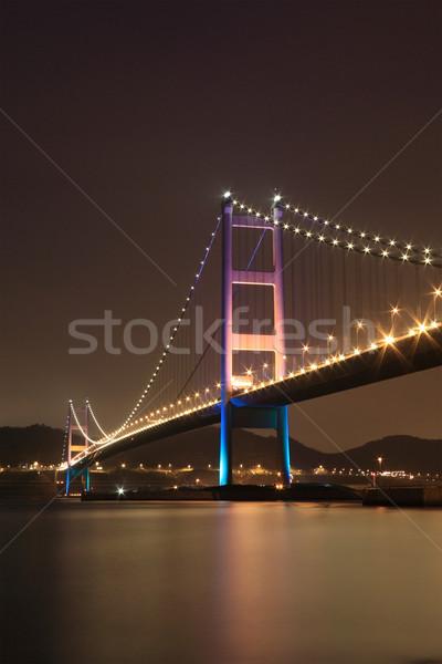 Tsing Ma Bridge night view, Hong Kong Stock photo © leungchopan