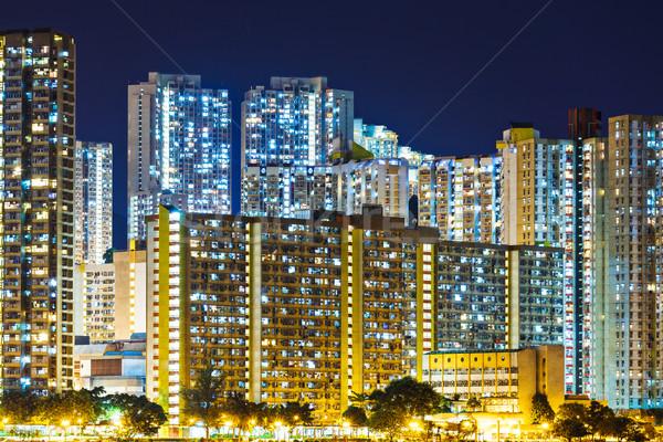 Publicznych obudowa Hongkong noc panoramę Zdjęcia stock © leungchopan
