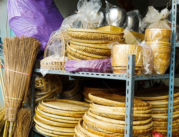 Handmade bamboo basket for sell  Stock photo © leungchopan