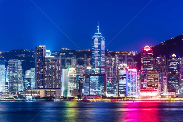 Hong Kong horizonte noche negocios rascacielos financieros Foto stock © leungchopan