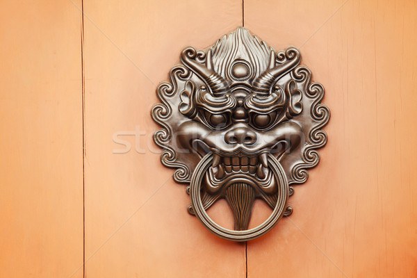 Stock photo: lion door knob