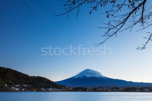 Fuji meer boom berg rivier plant Stockfoto © leungchopan