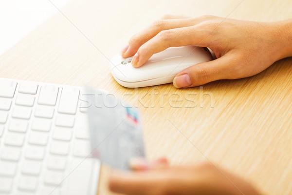 Compras on-line laptop mouse cartão feminino senhora Foto stock © leungchopan