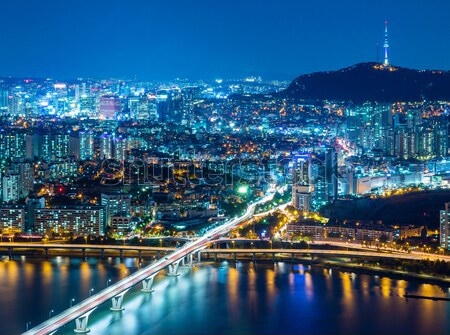 Seoul skyline from peak Stock photo © leungchopan