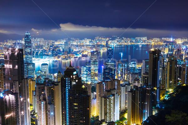 Hong-Kong Skyline bureau bâtiment sombre architecture Photo stock © leungchopan