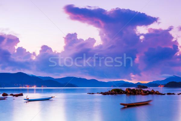 海景 午前 日没 風景 山 岩 ストックフォト © leungchopan