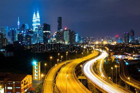 Куала-Лумпур Skyline ночь небе служба город Сток-фото © leungchopan