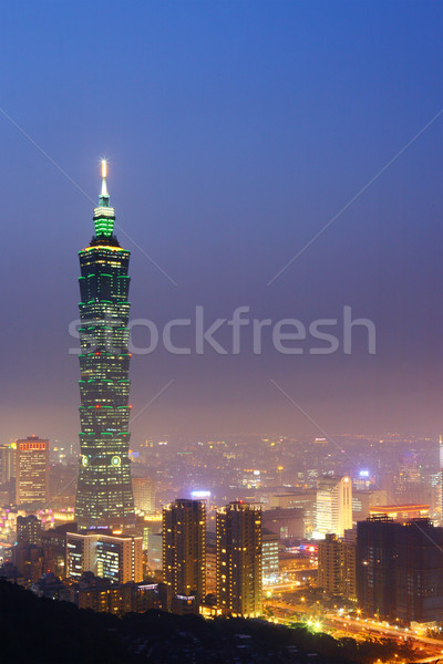Taipei city in taiwan at night Stock photo © leungchopan