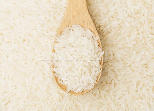 белый риса чайная ложка древесины зерна еды Сток-фото © leungchopan