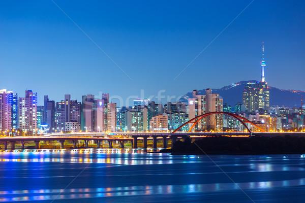 Seul linha do horizonte céu água estrada cidade Foto stock © leungchopan