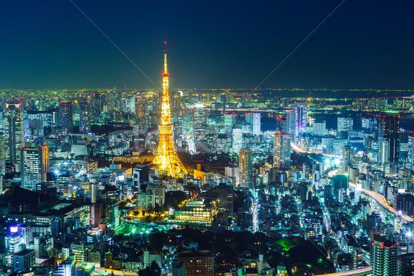 Tokyo notte business costruzione città strada Foto d'archivio © leungchopan