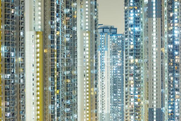 Fasada budynku ściany okno noc panoramę Zdjęcia stock © leungchopan