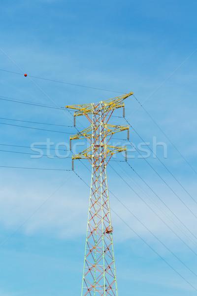 Fém torony távvezeték égbolt kék ipar Stock fotó © leungchopan