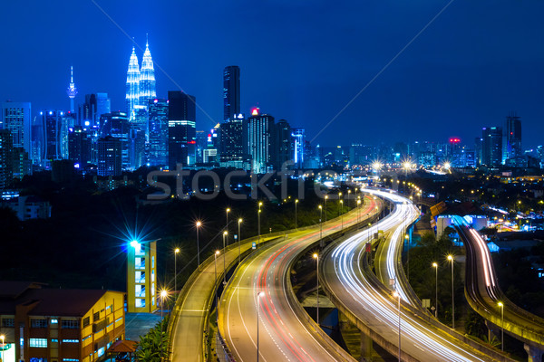 Kuala Lumpur Cityscape gece ofis inşaat bahçe Stok fotoğraf © leungchopan