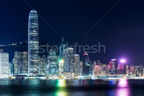 Hong Kong nocturna de la ciudad oficina edificio paisaje urbanas Foto stock © leungchopan