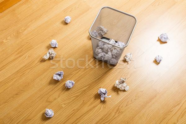 Stock photo: Trash bin and paper ball