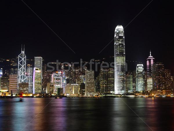 夜景 香港 市 1泊 現代 カラー ストックフォト © leungchopan