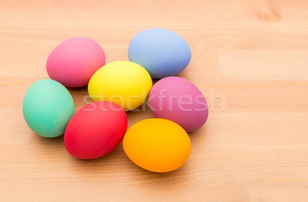 Pintado huevo de Pascua textura primavera madera Foto stock © leungchopan