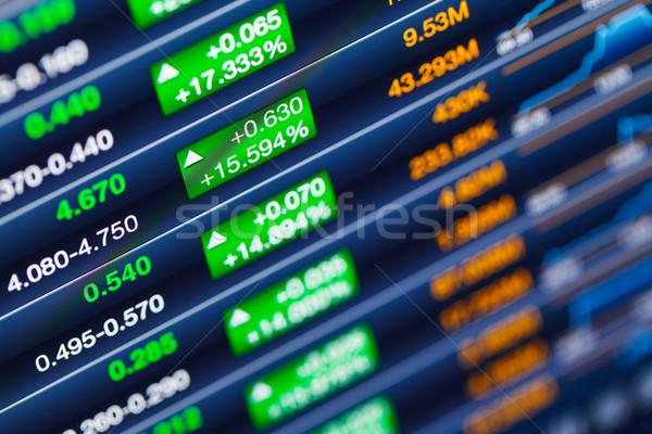 Mercado de ações dinheiro monitor verde tela financiar Foto stock © leungchopan