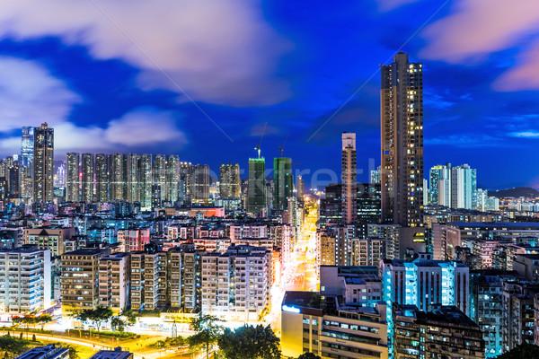 Stok fotoğraf: Kentsel · manzara · Hong · Kong · gece · şehir · ev