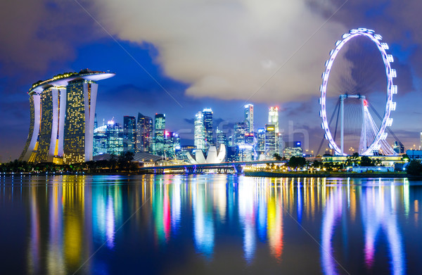 Singapore skyline at night Stock photo © leungchopan