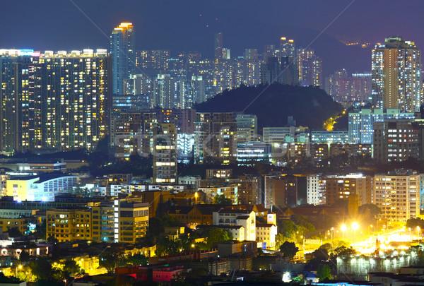 Lleno de gente centro de la ciudad edificio Hong Kong cielo pared Foto stock © leungchopan