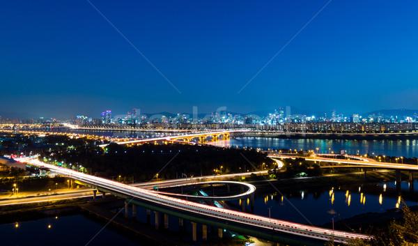 Seul rodovia escritório estrada paisagem ponte Foto stock © leungchopan