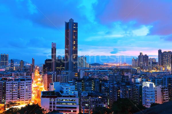 Hongkong Innenstadt Nacht Büro Gebäude Stadt Stock foto © leungchopan