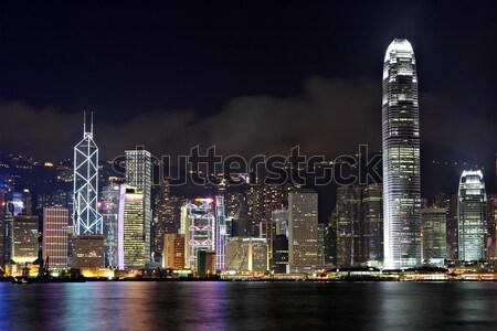 Hongkong Night City działalności niebo biuro budynku Zdjęcia stock © leungchopan