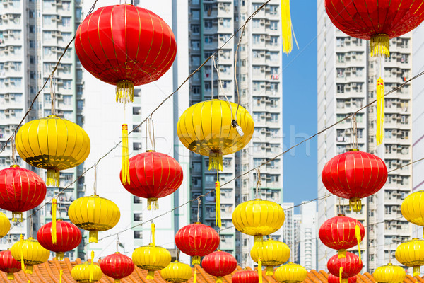 Red Chinese lantern in a Chinese Temple  Stock photo © leungchopan