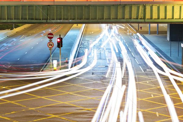 Trafic Night City bâtiments nuit Finance vitesse Photo stock © leungchopan