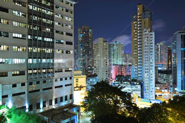Гонконг переполненный зданий ночь бизнеса небе Сток-фото © leungchopan