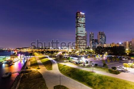 Seul noite escritório água cidade mar Foto stock © leungchopan
