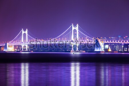 Busan city with suspension bridge Stock photo © leungchopan
