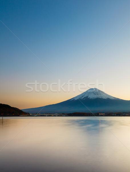 Foto stock: Montanha · fuji · Japão · árvore · neve · nascer · do · sol