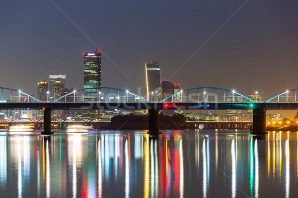 Seul linha do horizonte noite escritório edifício cidade Foto stock © leungchopan
