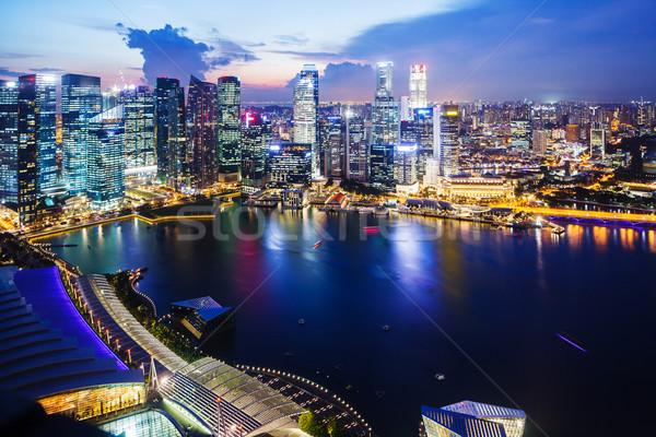 Singapore nacht water stad zee stedelijke Stockfoto © leungchopan