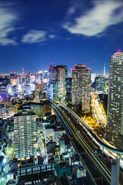 Stadsgezicht Tokio nacht gebouw stad home Stockfoto © leungchopan