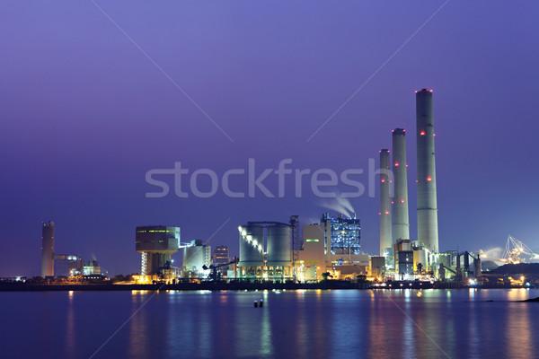 Elektrownia wody świetle niebieski fabryki jezioro Zdjęcia stock © leungchopan