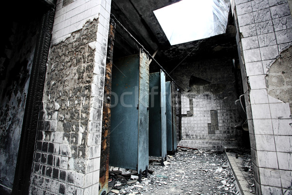 discarded building, fired toilet Stock photo © leungchopan