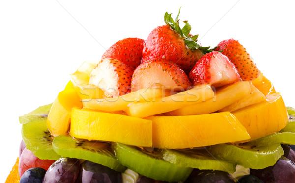 Pastel de frutas torta de uva postre melocotón kiwi Foto stock © leungchopan