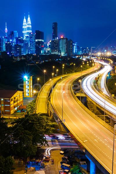 Kuala Lumpur ufuk çizgisi gece iş Bina şehir Stok fotoğraf © leungchopan