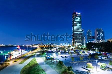 Seul linha do horizonte noite céu estrada cidade Foto stock © leungchopan